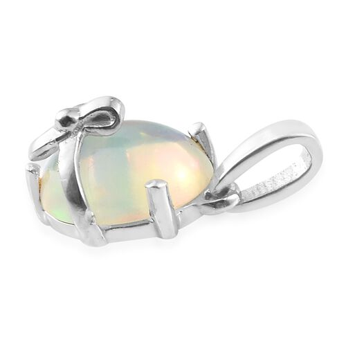 Ethiopian Welo Opal (Ovl) Solitaire Pendant in Platinum Overlay Sterling Silver 1.500 Ct.