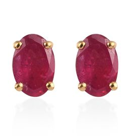 Fissure Filled Ruby Earring in 14K Gold Overlay Sterling Silver 0.25 ct  1.250  Ct.