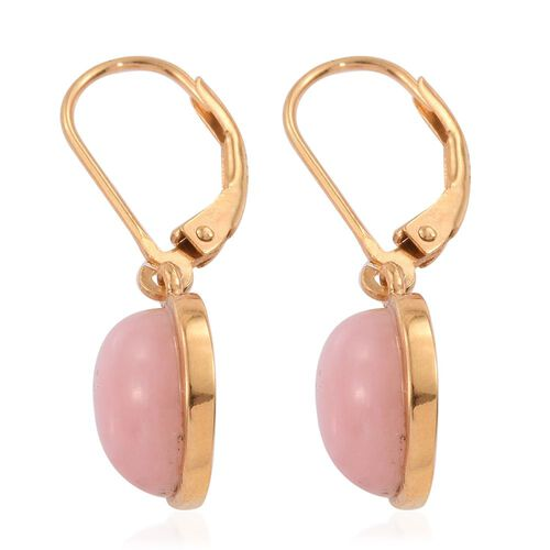 Natural Peruvian Pink Opal (Rnd) Lever Back Earrings in 14K Gold Overlay Sterling Silver 6.500 Ct.