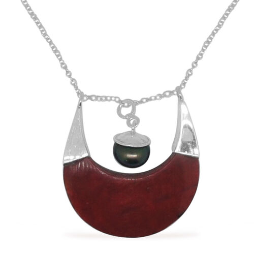 Royal Bali Collection Sponge Coral and Fresh Water Pearl Necklace (Size 18) in Sterling Silver 10.730 Ct.