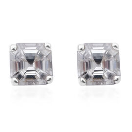 One Time Deal-Tanzanian Natural  Zircon Asscher Cut Earrings in Rhodium Overlay Sterling Silver 2.00