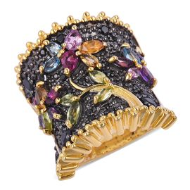 Designer Inspired- Multi Gemstone Flower and Leaves Ring in Black and 14K Gold Overlay Sterling Silv