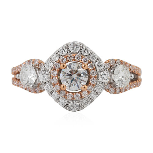 New York Close Out-14K Rose and White Gold Diamond (Rnd 0.25 Cts) ( I1 to I2/G-H) Ring 1.248 Ct.Gold Wt 5.00 Gms