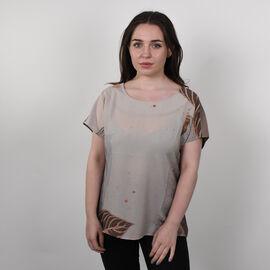 Jovie Leaves Pattern Short Sleeve Blouse for Women