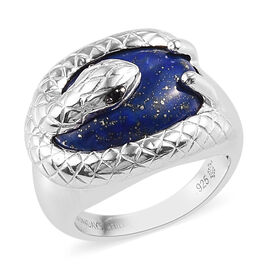 Sundays Child - Lapis Lazuli and Boi Ploi Black Spinel Serpent Ring in Platinum Overlay Sterling Sil
