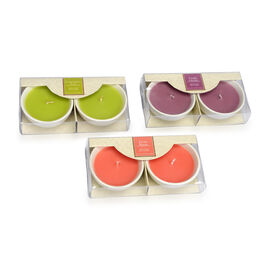 6 Piece Set Ceramic Summer Fragrance Candles (Lemongrass, Vanilla Orchid and Exotic Mango Fragrance)