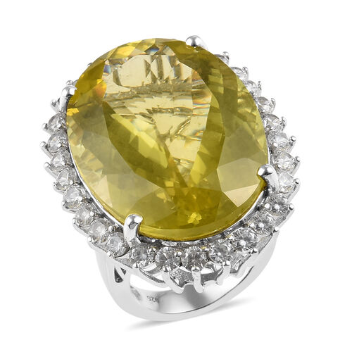 Natural Ouro Verde Quartz and Zircon Halo Ring in Platinum Plated Silver 58.75 Ct