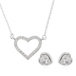 2 Piece Set - ETERNITY Crystal from Swarovski White Crystal (Rnd and Hrt) Heart Pendant with Chain (