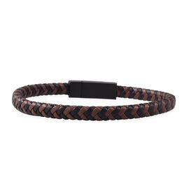 7.5 Inch Leather Bracelet in Mix Metal, Stainless Steel and Genuine Leather