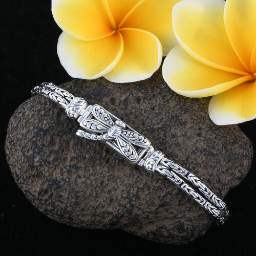 Royal Bali Collection- Sterling Silver Dragonfly with Tulang Naga Bracelet (Size 7.50 with Half inch Extender), Silver wt 19.98 Gms.