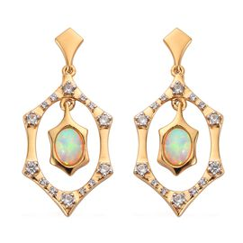 Ethiopian Welo Opal and Natural Cambodian Zircon Dangle Earrings (with Push Back) in 14K Gold Overla