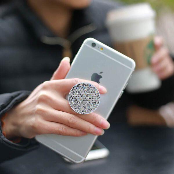 White Shungite Plate Phone Pop Holder (Size 4x2 Cm)