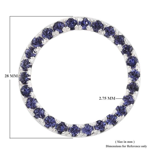 J Francis - Crystal from Swarovski Tanzanite Colour Crystal (Rnd) Pendant in Sterling Silver