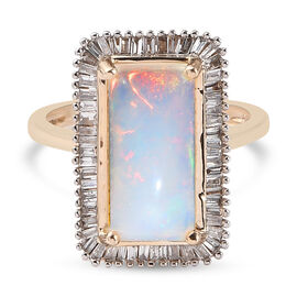 AA Ethiopian Welo Opal and Natural Diamond Halo Ring in 9K Yellow Gold,3.55 Ct