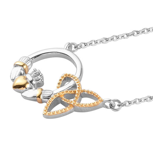 Platinum and Yellow Gold Overly Sterling Silver Necklace (Size 20)