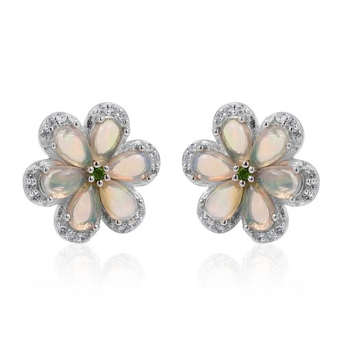 Ethiopian Welo Opal (Pear), Russian Diopside and Natural White Cambodian Zircon Flower Stud Earrings