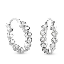 Artisan Crafted - Polki Diamond Hoop Earrings (with Clasp) in Sterling Silver 1.00 Ct.