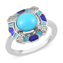 Sleeping Beauty Turquoise and Zircon Enamelled Ring in Platinum Plated Sterling Silver,1.97 Ct