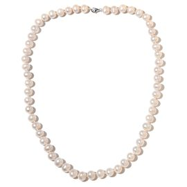 AAA Double Luster Fresh Water White Pearl Ball Necklace in 9K White Gold 24 Inch