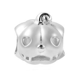 Charmes De Memoire - Rhodium Overlay Sterling Silver Heart-Eye Carved Pumpkin Charm