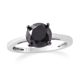 Black Diamond (Rnd) Ring in Platinum Overlay Sterling Silver 2.000  Ct.