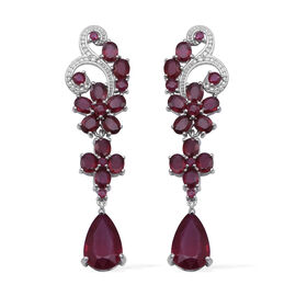 24.01 Ct African Ruby and White Zircon Floral Earrings in Rhodium Plated Sterling Silver 9.16 Grams