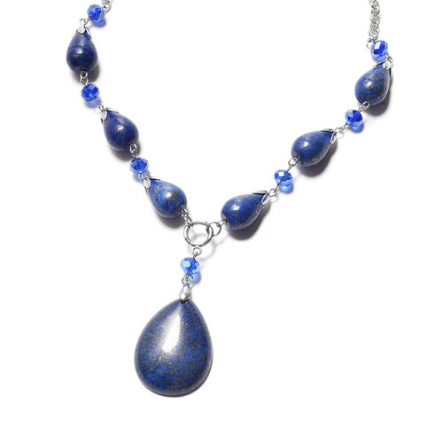 Lapis Lazuli and Simulated Blue Sapphire Necklace (Size - 18 + 2 inch Extender) in Silver Tone