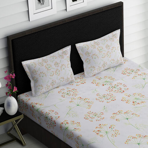 4 Piece Set : Floral Pattern Microfibre Sheet Set including Flat Sheet (275x265cm), Fitted Sheet (150x200+30cm) and 2 Pillow Cases (50x75cm) - White and Light Green - King