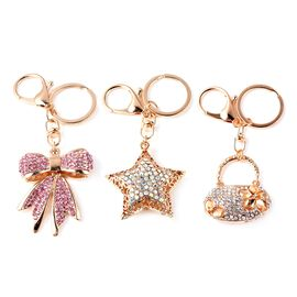 Set of 3 - Simulated Mystic White Crystal (Rnd), Pink and White Austrian Crystal Bowknot, Star and H