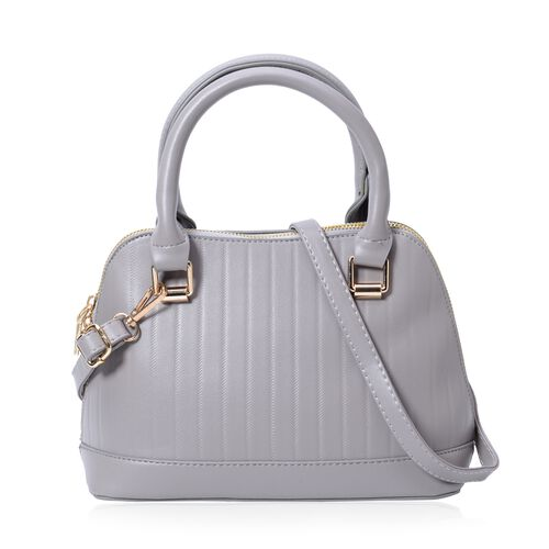 Grey Colour Tote Bag with External Zipper Pocket and Removable Shoulder Strap (Size 24x17x11x11 Cm)