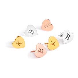 Personalised Engraved Initial Heart Stud Earrings