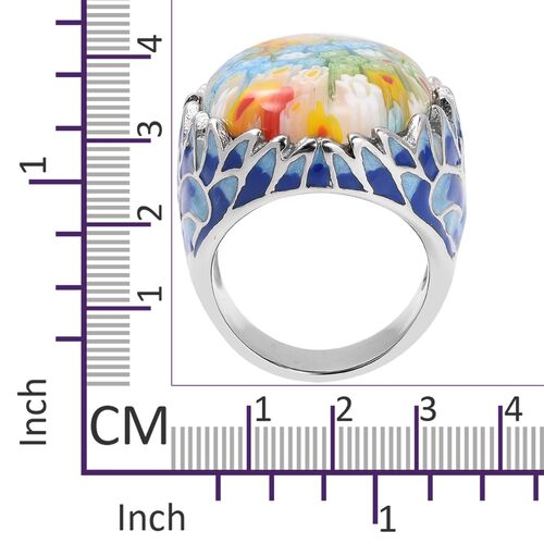 Designer Inspired Murano Style Glass (Ovl 28x22 mm) Ring in Silver Plated