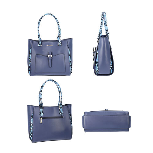LOCK SOUL  Blue Snake Pattern Handbag with Detachable Shoulder Strap (38x16x30cm) - Dark Blue