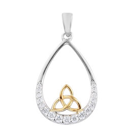 J Francis - Sterling Silver (Rnd) Knot Pendant Made with SWAROVSKI ZIRCONIA