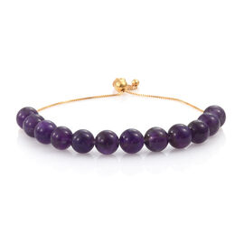 Amethyst Ball Beads Adjustable Bracelet (Size 6.5 - 8.5 Inch) in Yellow Gold Overlay Sterling Silver 50.000 Ct.