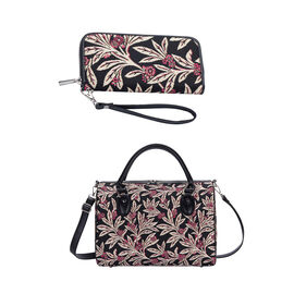 Signare Tapestry -Travel Bag in Golden Fern Design with Strap (39x27x20cm) with Free RFID Blocking W