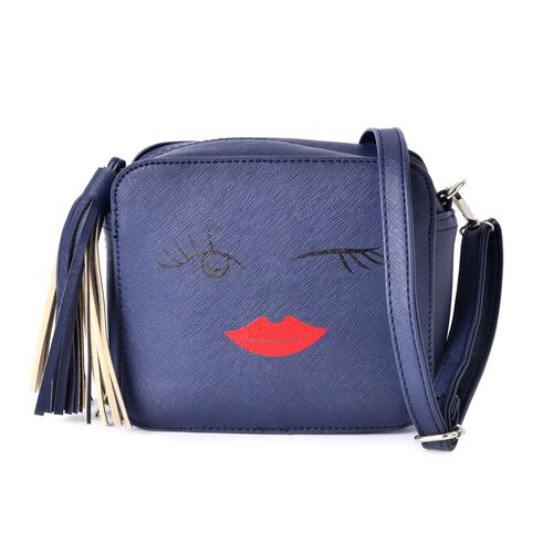 Blue Summer Fun Crossbody Bag with External Zipper Pocket and Adjustable and Removable Shoulder Stra