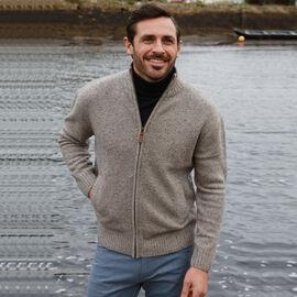 Aran Woollen Mills Merino Wool Zip Sweater Beige