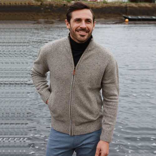 Aran Woollen Mills Merino Wool Zip Sweater (Size Small, 63x54 Cm) - Beige