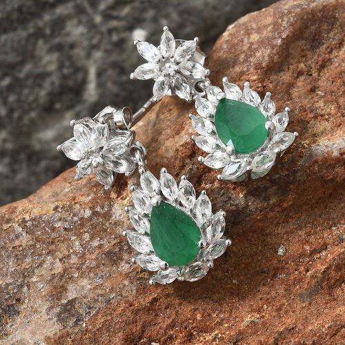 Designer Inspired-Kagem Zambian Emerald (Pear 7x5 mm), White Topaz Halo Dangle Earrings (with Push Back) in Platinum Overlay Sterling Silver 3.250 Ct.