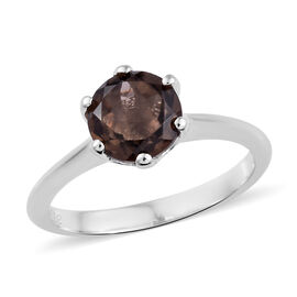 Brazilian Smoky Quartz (1.25 Ct) Platinum Overlay Sterling Silver Ring  1.000  Ct.