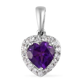 Amethyst and Natural Cambodian Zircon Heart Halo Pendant in Platinum Overlay Sterling Silver 1.743