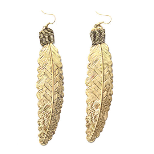 Set of 3 - Black, Gold and Silver Tone Leaves Hook Earrings
