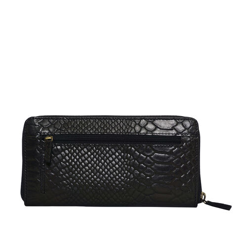 Assots London HAZEL Python Embossed Genuine Leather RFID Zip Around Purse (Size 20x2x10 Cm) - Black