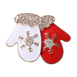 Christmas White Austrian Crystal Gloves Enamelled Brooch in Yellow Gold Tone