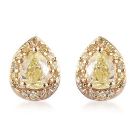 Natural Yellow Diamond Pear Stud Earrings (with Push Back) in 9K Yellow Gold 0.52  Ct.