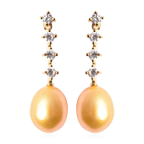 Freshwater Golden Pearl and Simulated Diamond Dangle Earrings (with Push Back) in Yellow Gold Overla