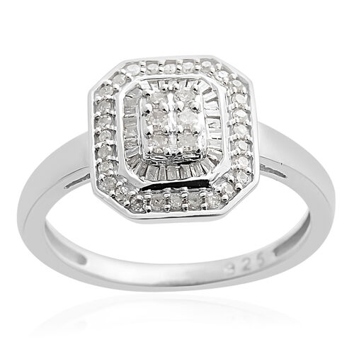 0.50 Ct Diamond Cluster Ring in Platinum Plated Sterling Silver