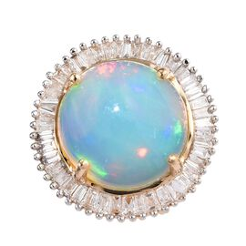 ILIANA 3 Carat AAA Ethiopian Welo Opal and Diamond Halo Pendant in 18K Gold