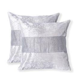 Set of 2 - Silver Cream Colour Crush Velvet Cushion Cover (Size 42x42 Cm)